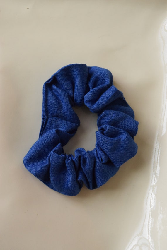 Royal Blue Linen Scrunchy