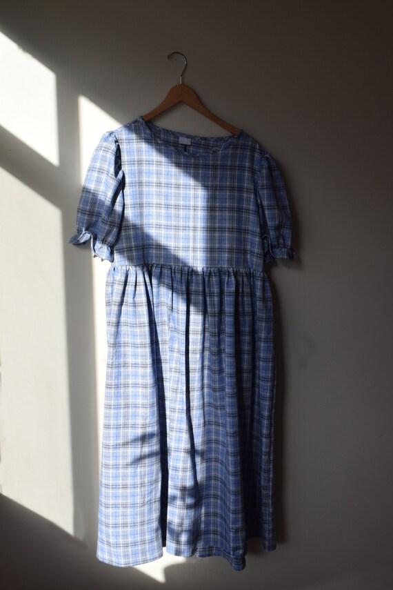 Linen & Cotton Plaid Puff Sleeve Dress