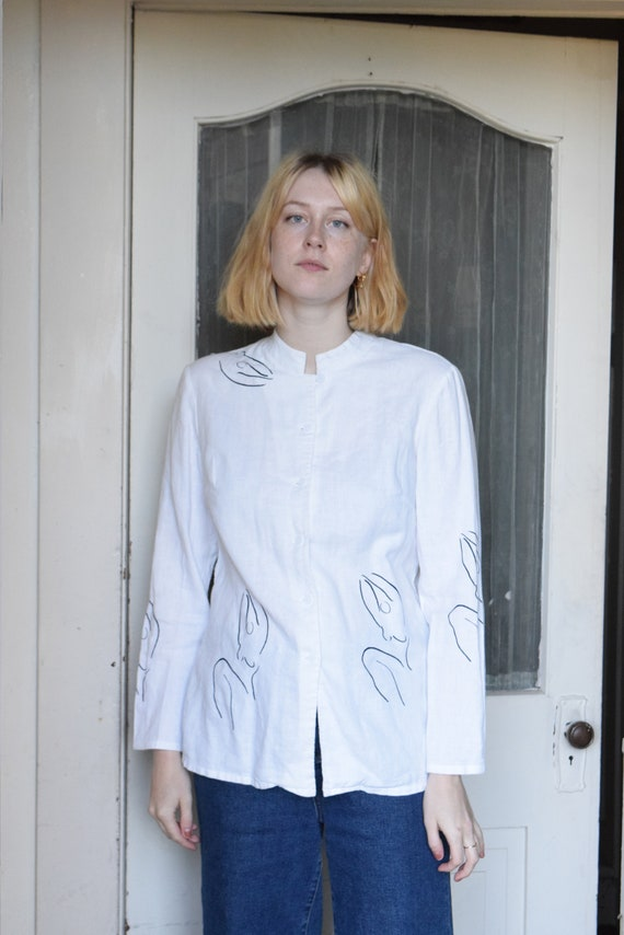 White Linen Meridian Woman Shirt