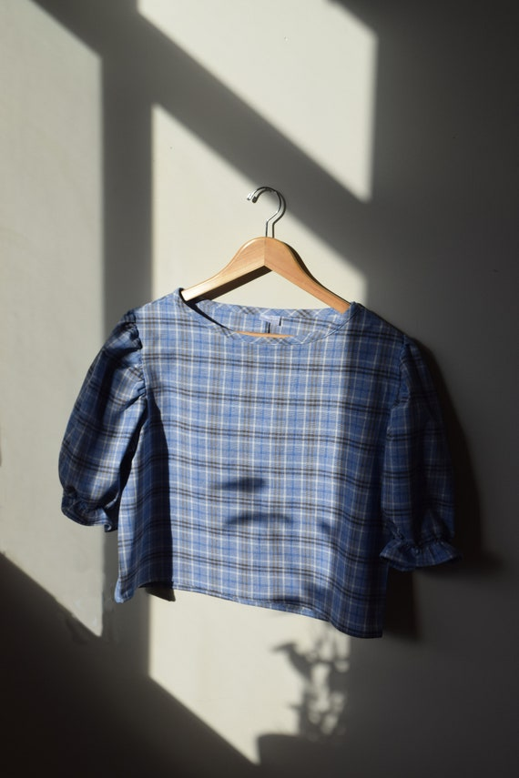 Linen & Cotton Plaid Puff Sleeve Top