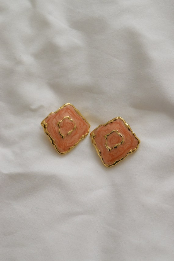 Orange & Gold Ripple Earrings