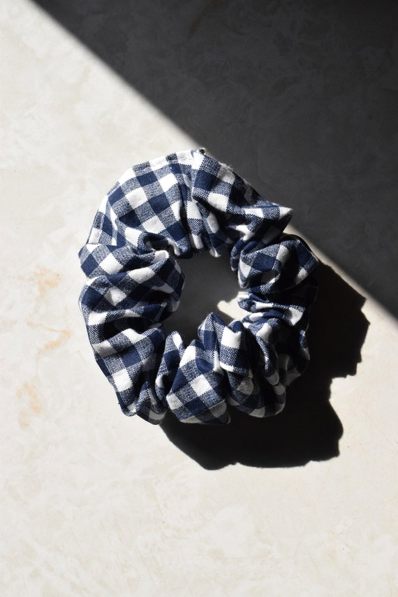 Navy and White Gingham Scrunchie  |  Add-on Item