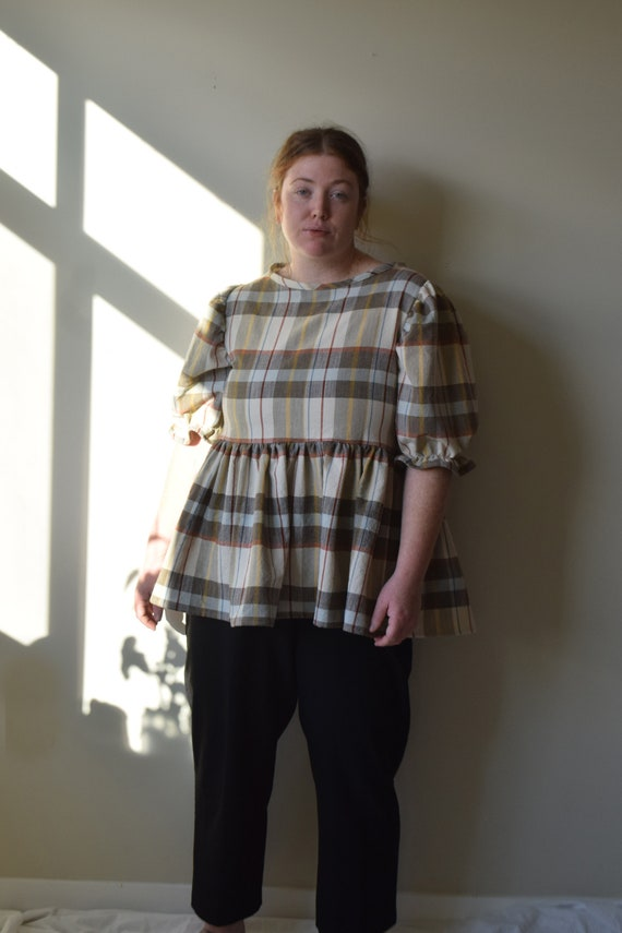 One of a Kind Plaid Puff Sleeve Top
