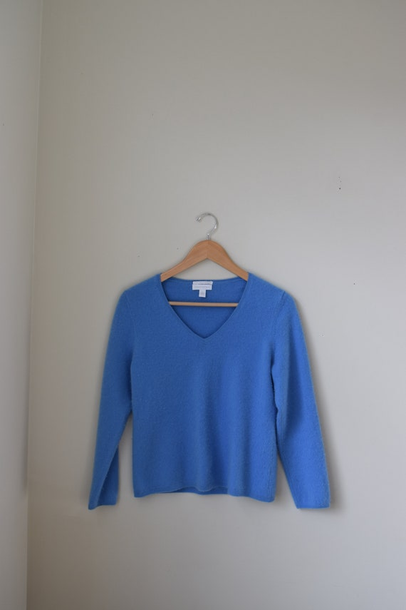 Blue Cashmere V-Neck