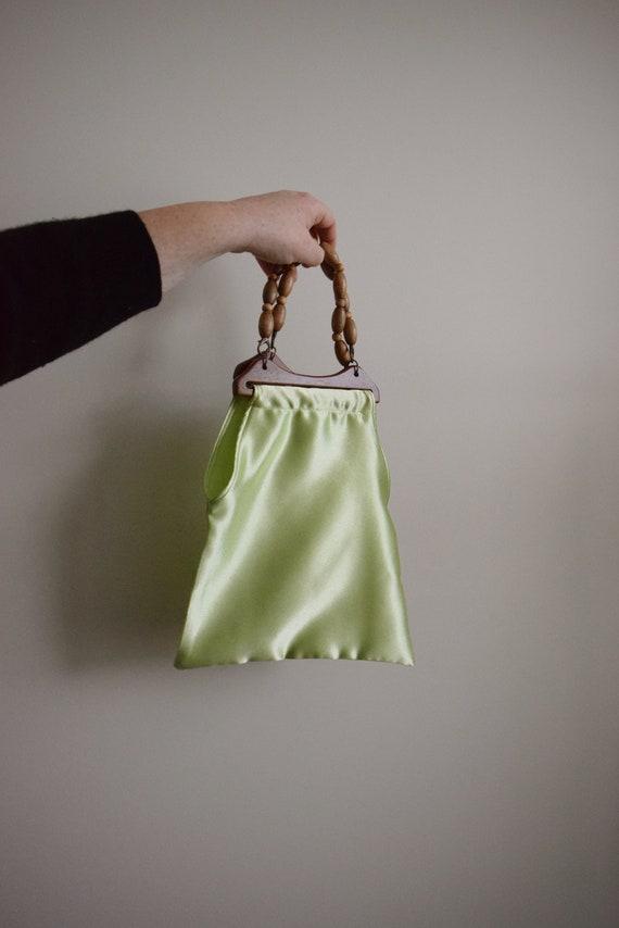 Cecelia Lime Satin Handbag