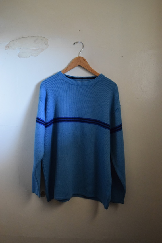 Sky Blue Long Sleeve Striped Sweater