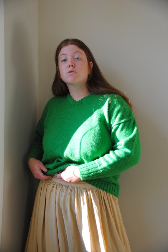 Handknit Kelly Green Sweater