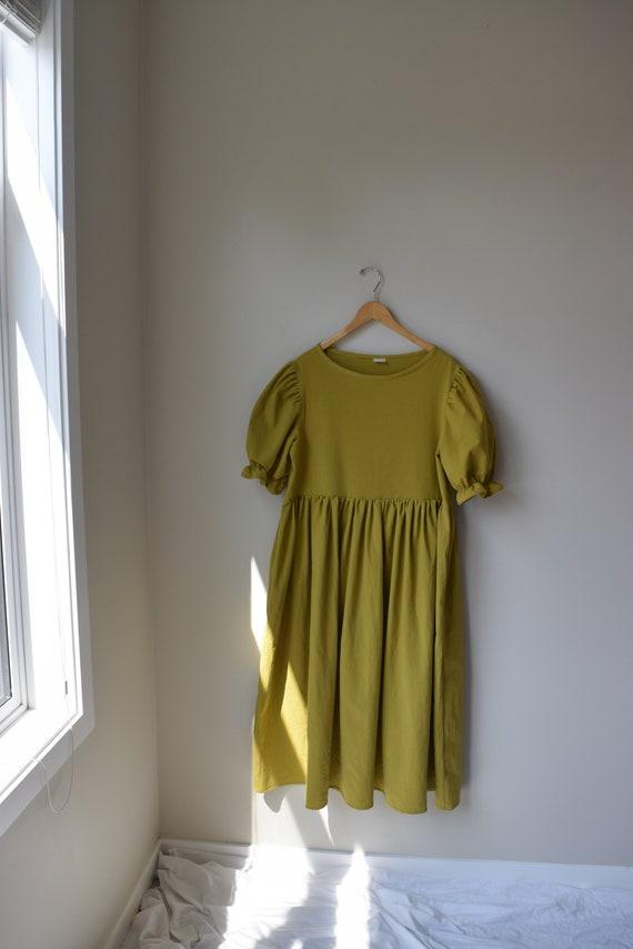 Pistachio Cotton Puff Sleeve Dress