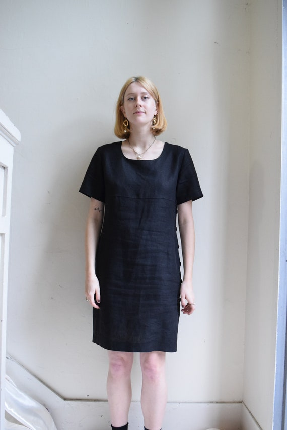 Black Linen Shift Dress  |  Print Optional