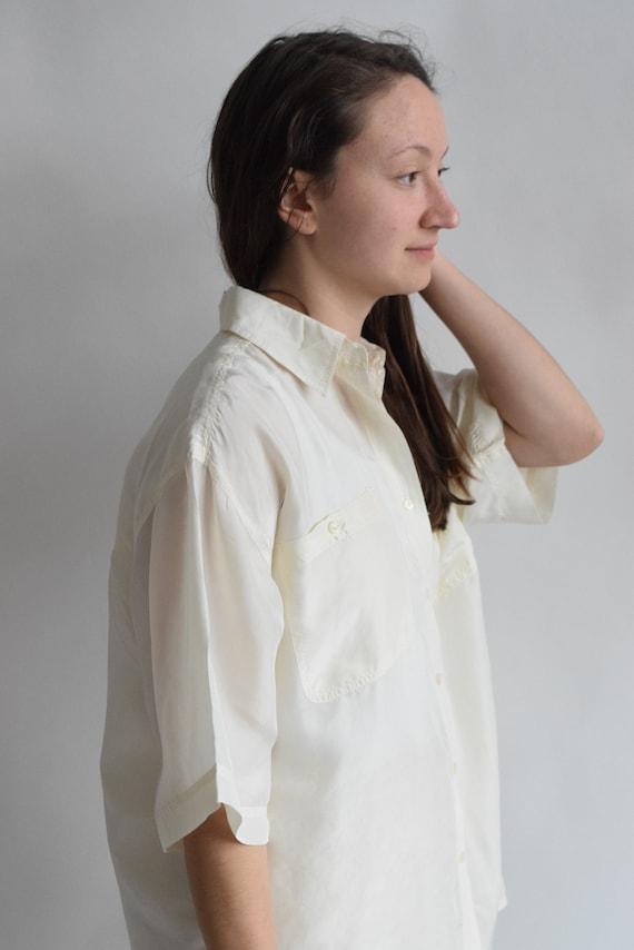 White Silk Blouse  |  Print Optional