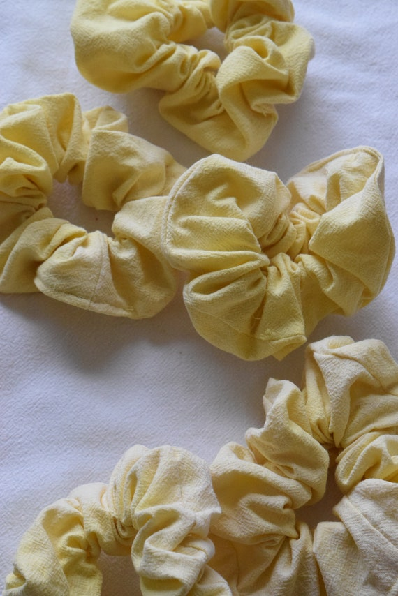 Lemon Cotton Hair Scrunchies