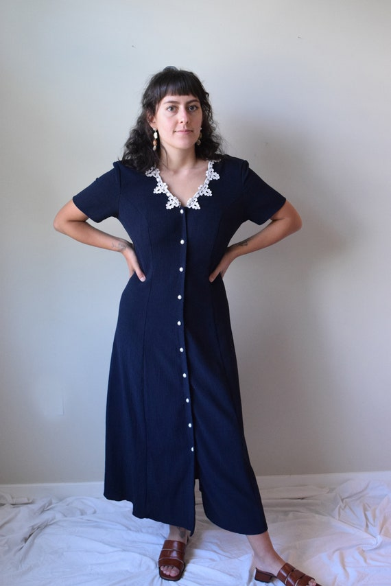 Lace Bib Navy Market Dress
