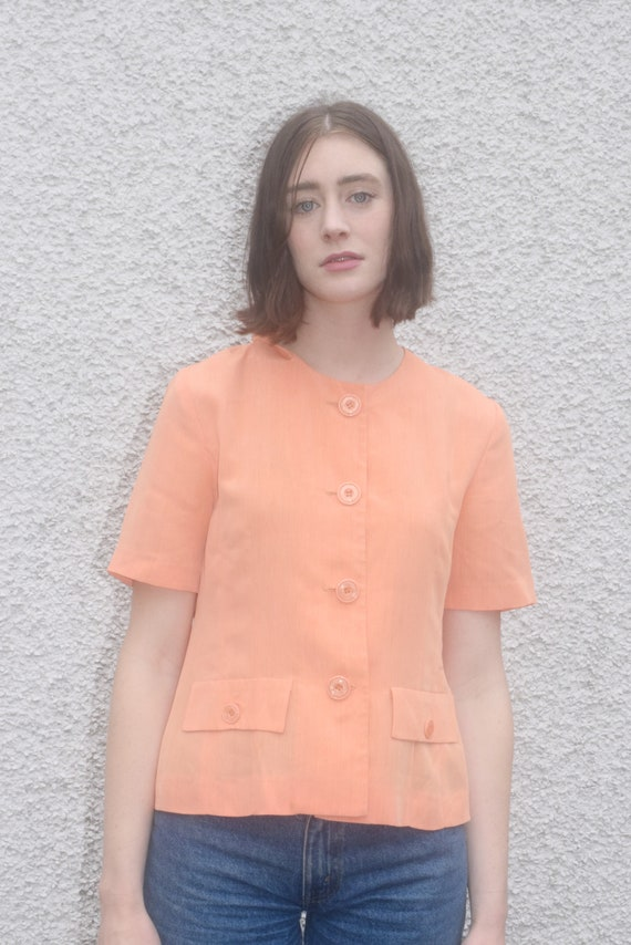 Apricot Button-Up Tee  |  Print Optional