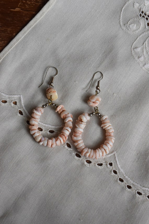 Pink Shell Hoops