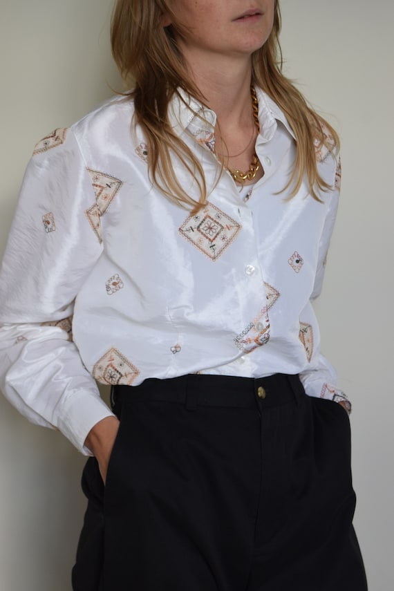 Pearl White Embroidered Blouse