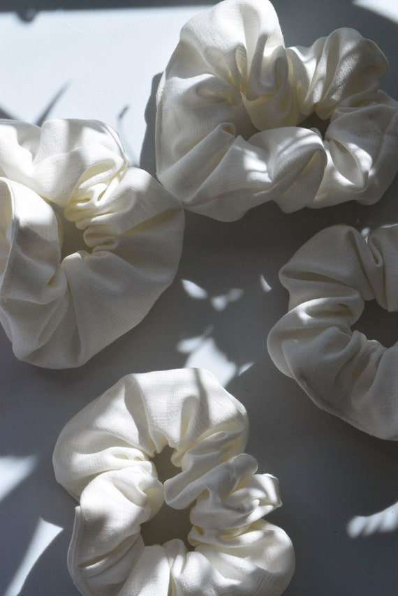 Vanilla Linen Hair Scrunchie