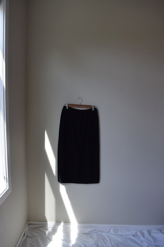 Black Ribbed Knit Pencil Skirt