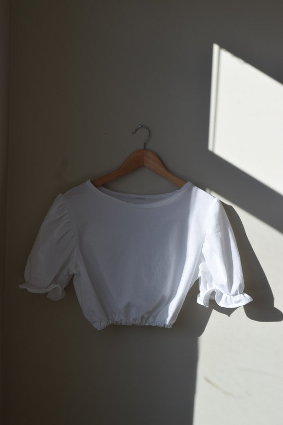 White Cotton Puff Sleeve Bralette