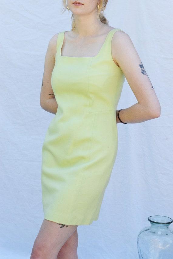 Lime Sleeveless Wool Mini Dress.