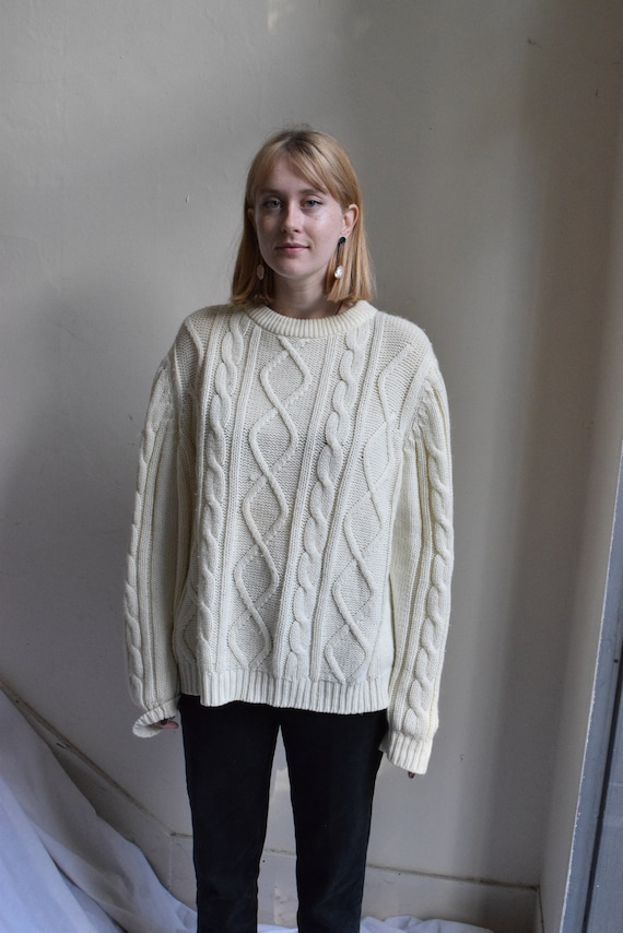 Vintage Hudson Bay Cable Knit Sweater.