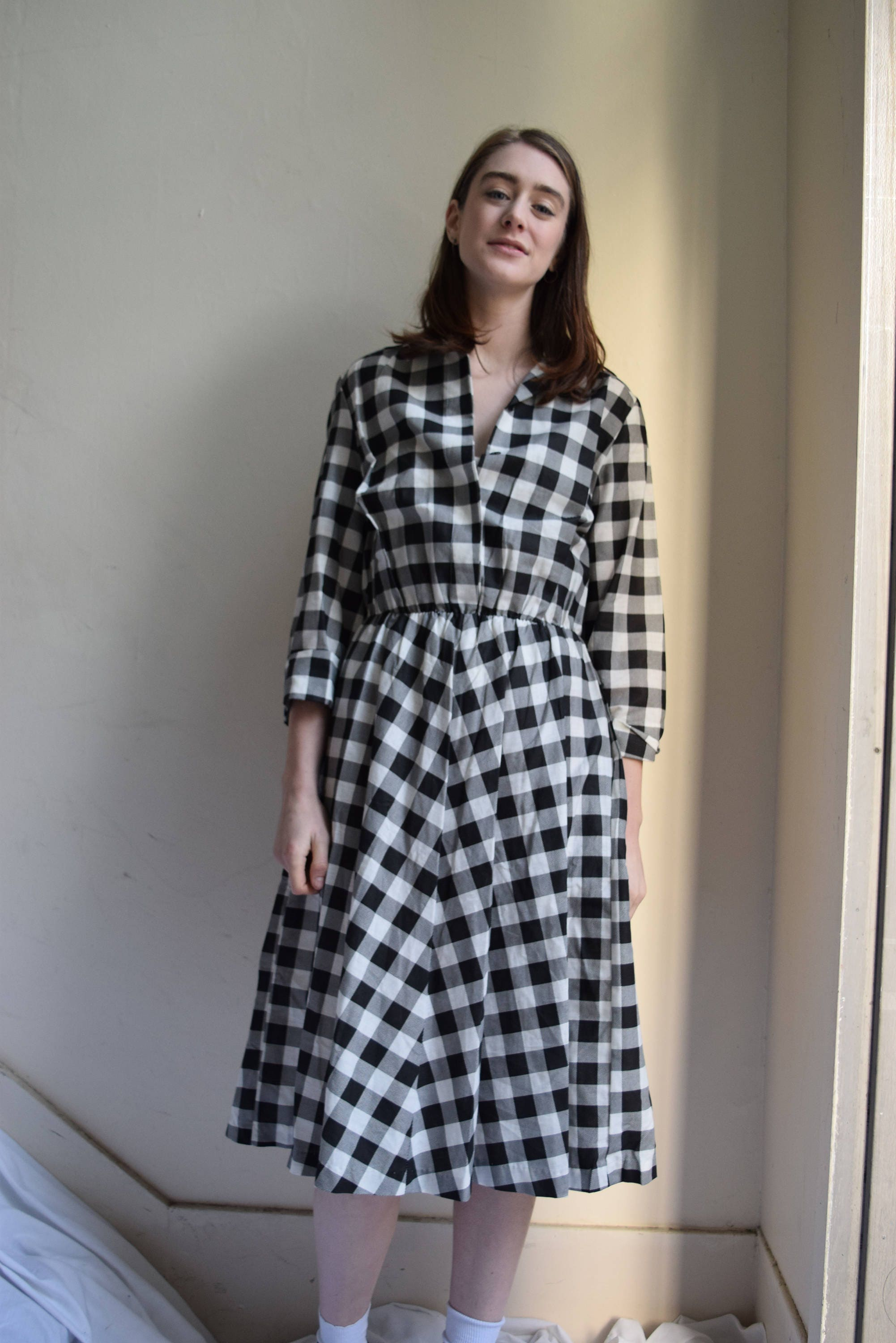 71be80e5ce1 Black and White Checkered Cotton Swing Dress.