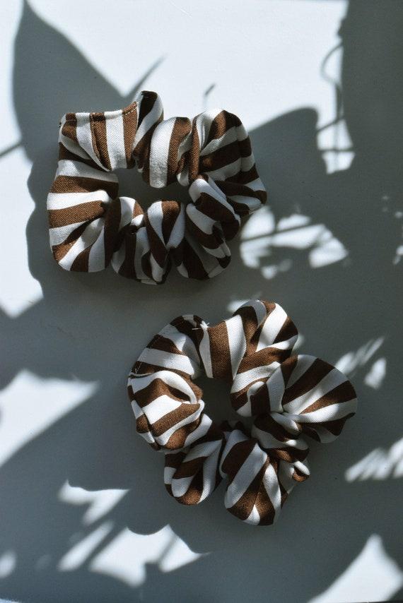 Chocolate Pinstripe Hair Scrunchie