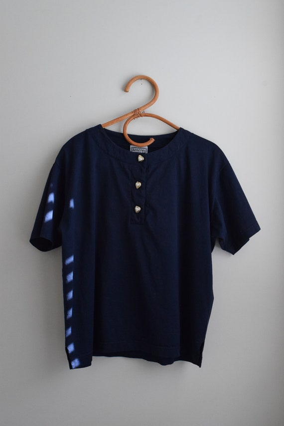 Navy Cotton Henley