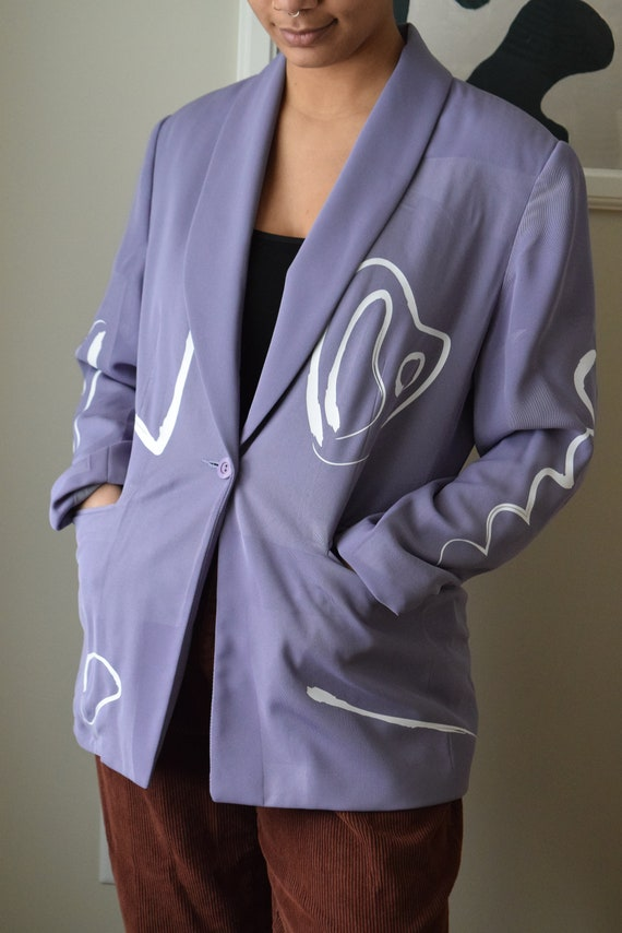 Reworked Lavender Abstract Blazer