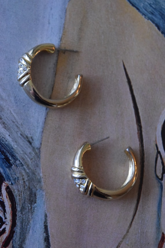 Chunky Gold Rhinestone Hoops