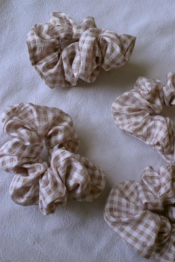 Tan and White Gingham Hair Scrunchie
