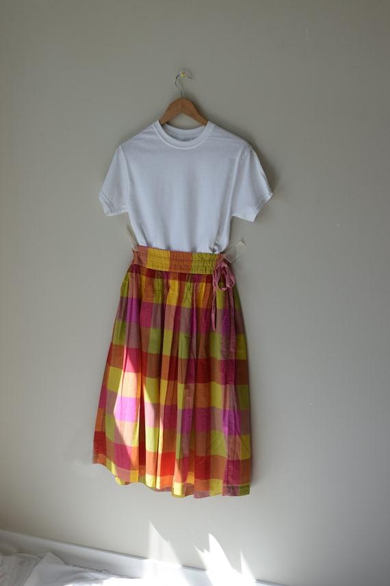 Vintage Plaid Cotton Market Skirt