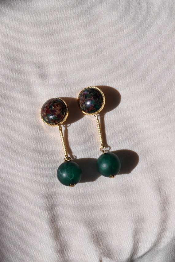 Vintage Forrest Terrazzo Clip-On Earrings.