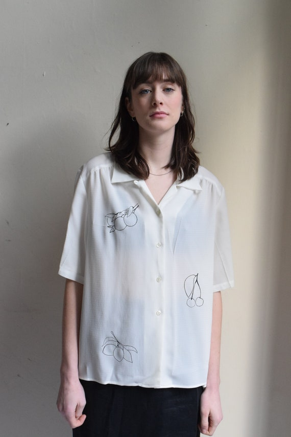 White Fruit Print Button-Up Top