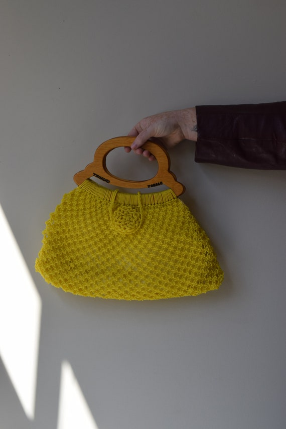 Lemon Woven Plastic Handbag
