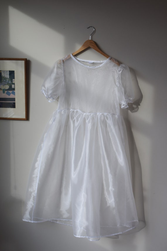 Pearl Organza Puff Sleeve Dress