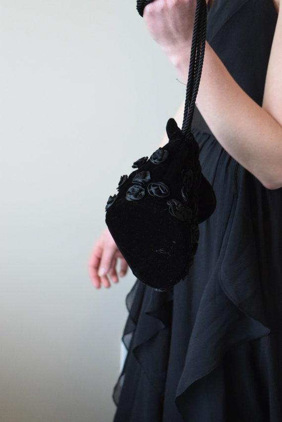 Black Velour Drawstring Bag