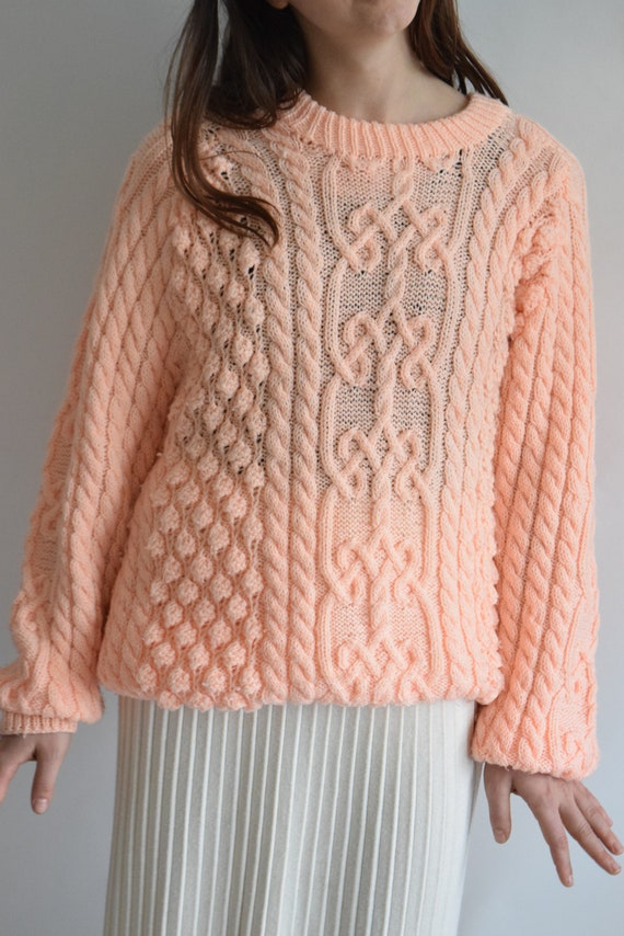 Handknit Salmon Cable-knit  Sweater