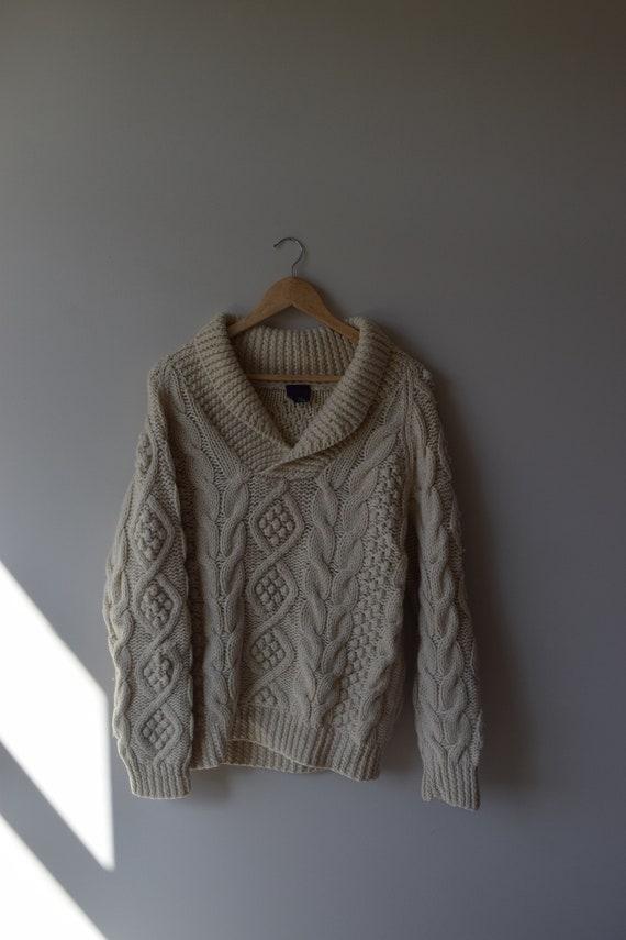 Ecru Wool Rowing Sweater