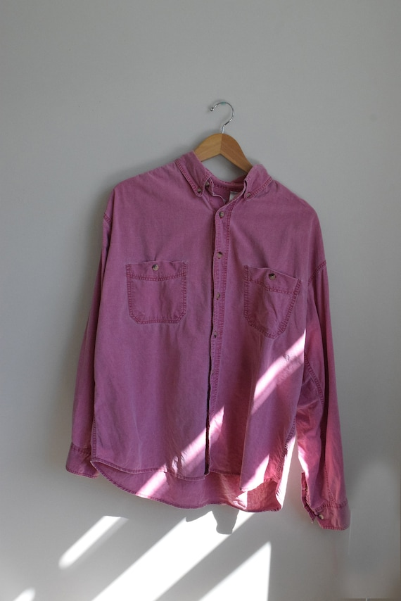 Red Stone Wash Button Down