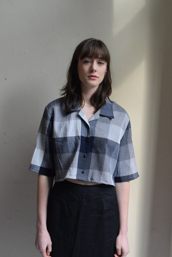 Blue Plaid Cropped Button-Up Top