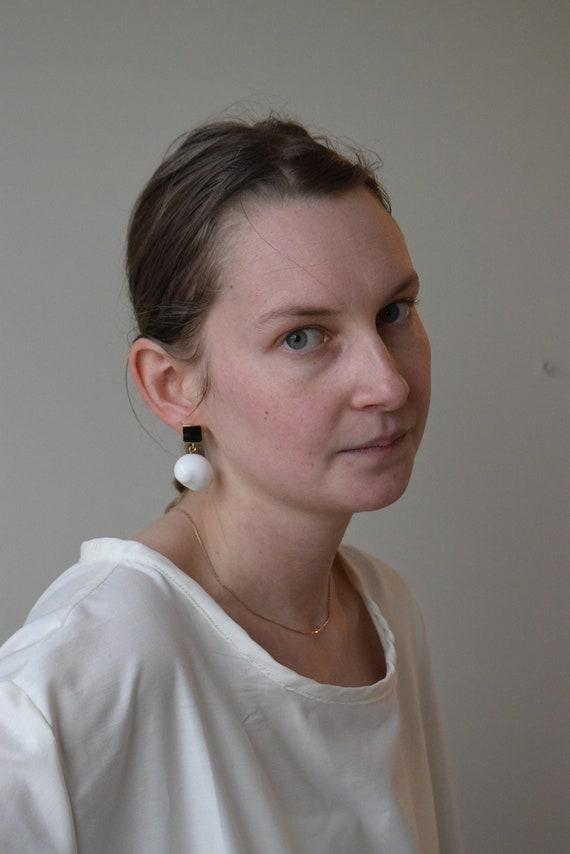 Black & Gold Shell Earrings