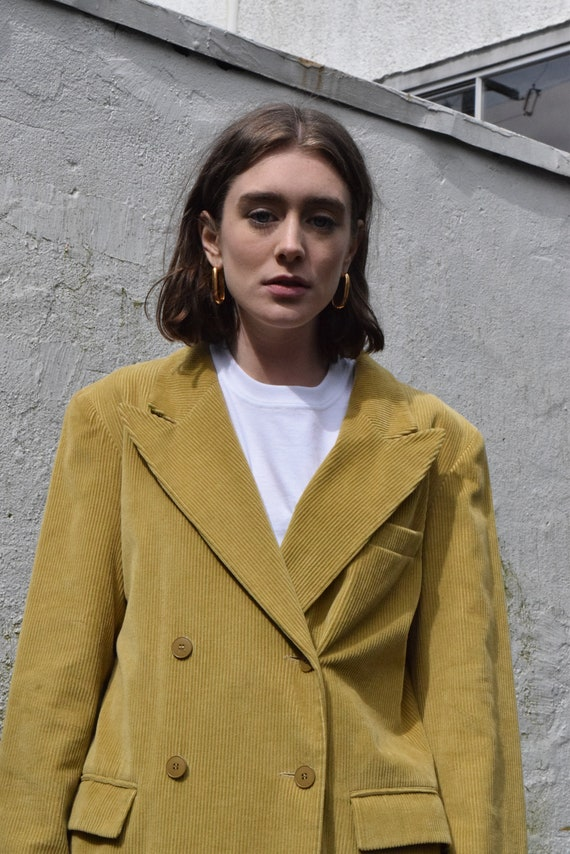 Double Breasted French Corduroy Trenchcoat in Acid Mustard  |  Print Optional