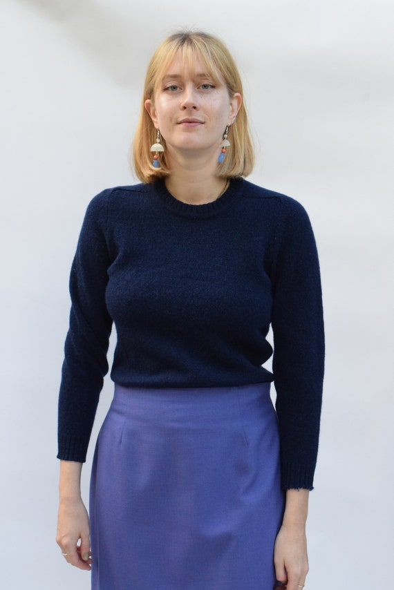 Navy Wool Knit Pullover