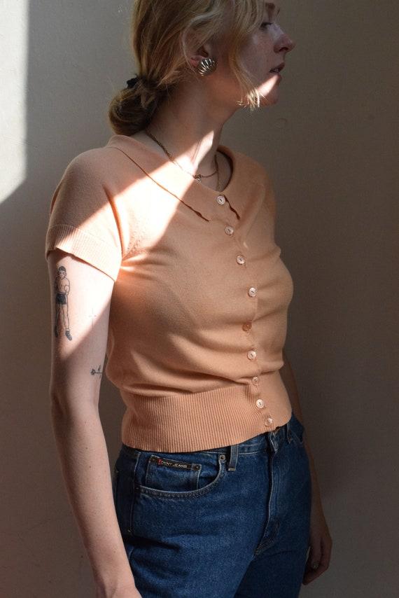 Peach Cashmere Silk Collared Blouse