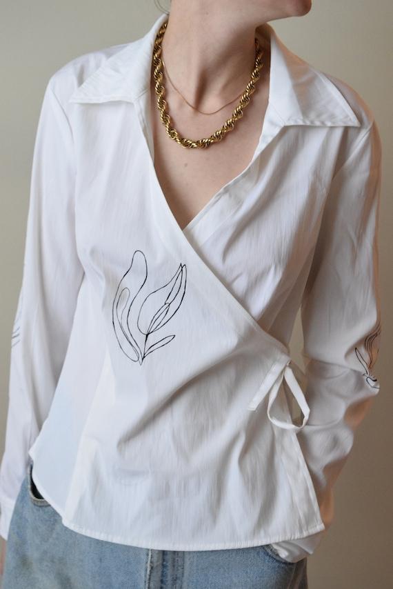 Lilja White Cotton Wrap Top