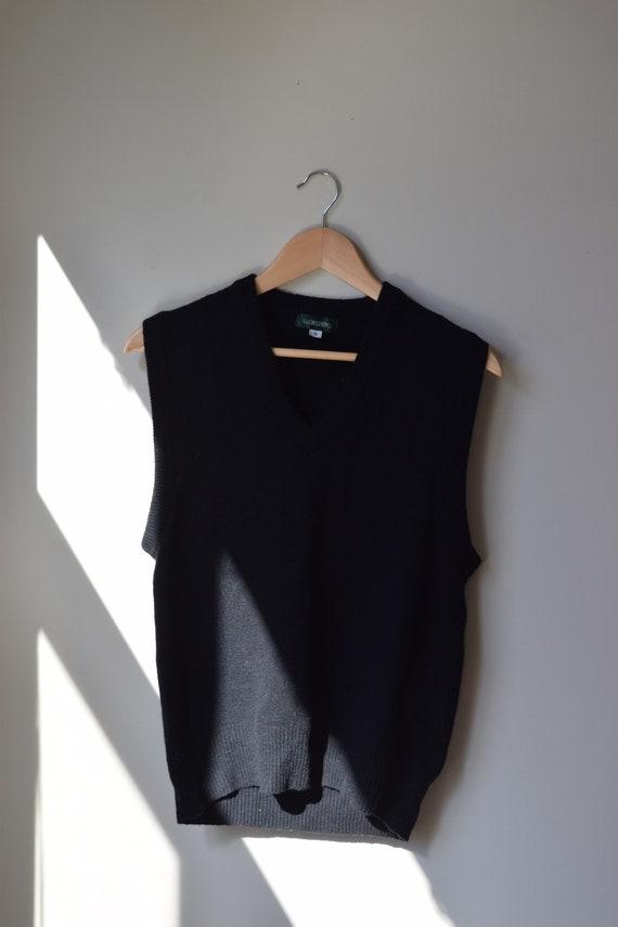 Black Lambswool Sweater Vest