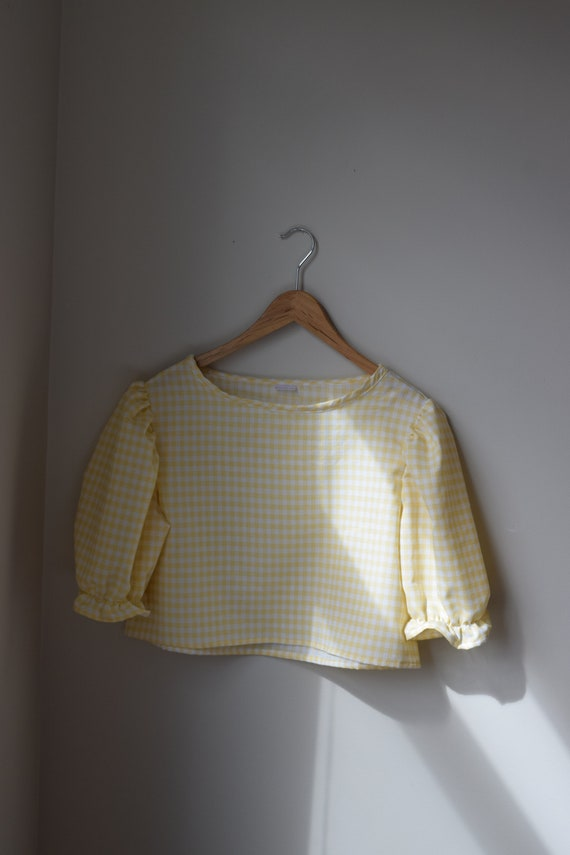 Custard Gingham Puff Sleeve Tee