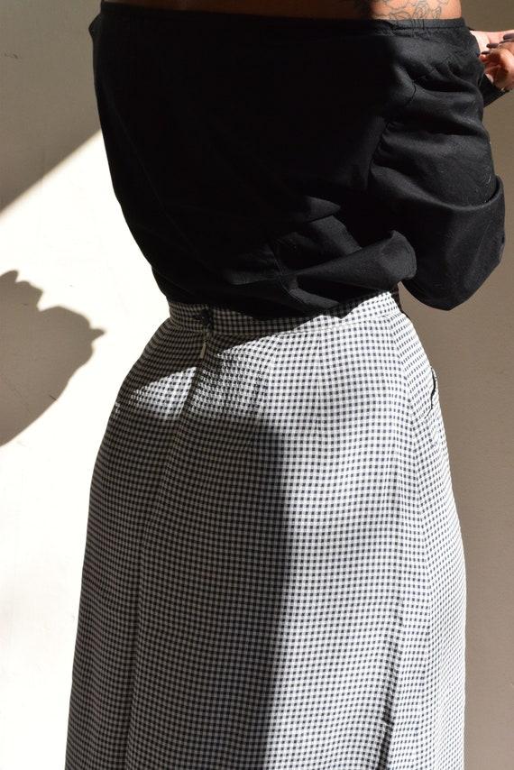 Navy and White Gingham Skirt.