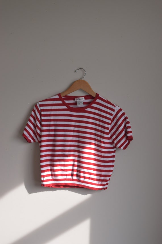Red & White Cropped Striped Tee