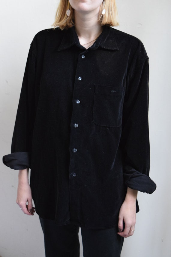 Oversized Black Velour Work Shirt.